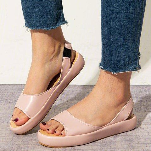Women's Fashion Footbed Peep Toe Slip On Sandals