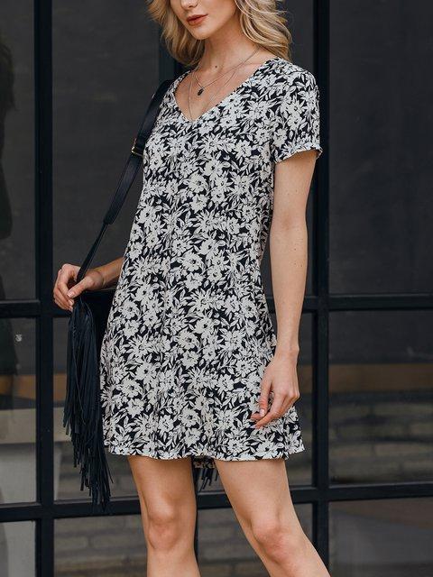 Black White Boho Floral Dresses