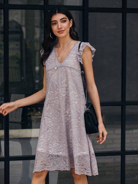 Purple Lace V Neck Sleeveless Sexy Dresses