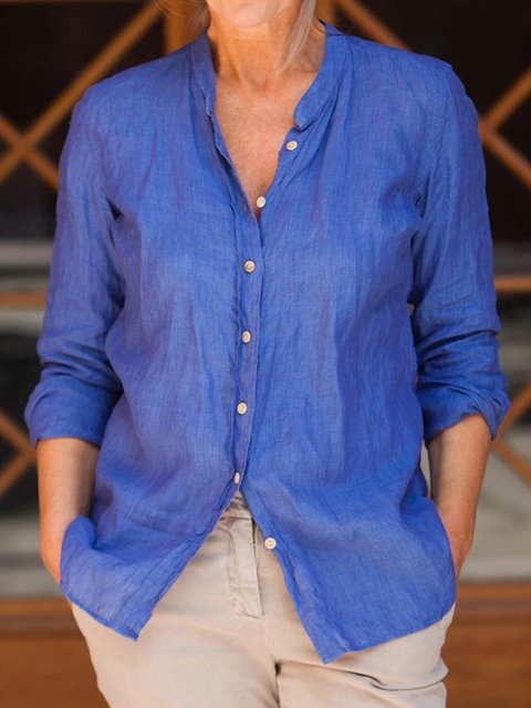 Blue Solid Blouses Stand Collar Shirt