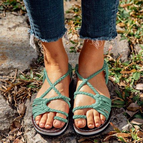 Plus Size Women Sandals Handmade Beach Flat Sandals