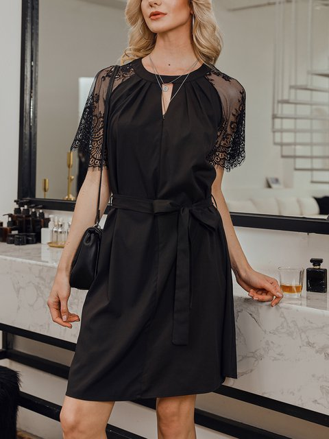 Black Short Sleeve Solid Sexy Dresses