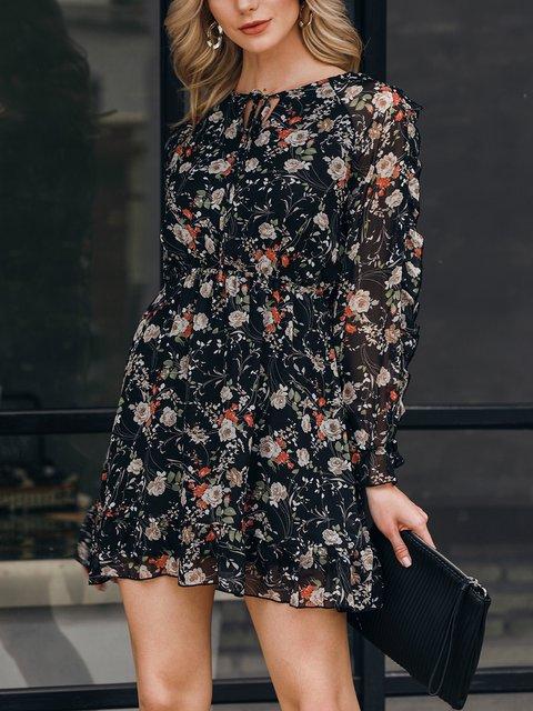 Black Holiday Long Sleeve Chiffon Shift Dresses