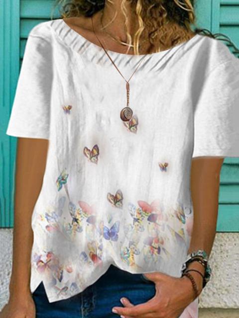 Crew Neck Floral Cotton Short Sleeve Shirts