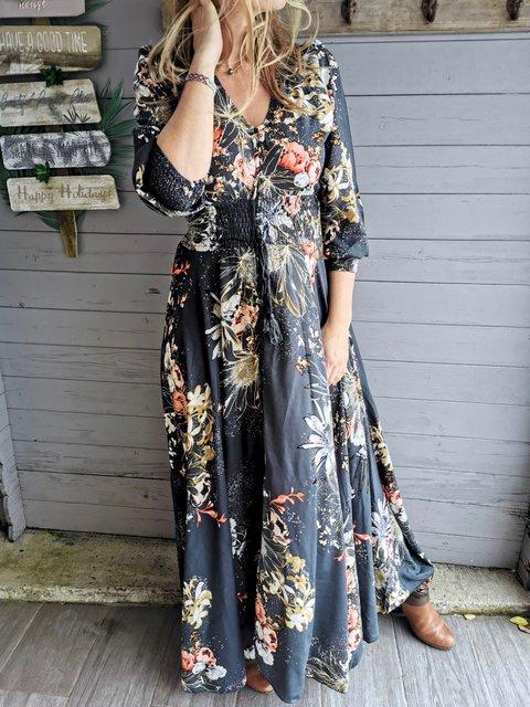 Floral-print Cotton-Blend Casual Dresses