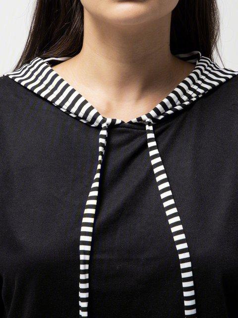 Black Long Sleeve Hoodie Patchwork Hoody