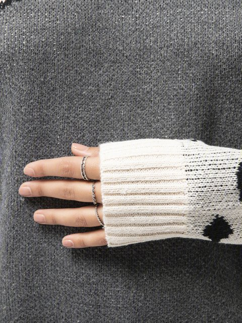 Plus Size Leopard Long Sleeve Casual Sweater