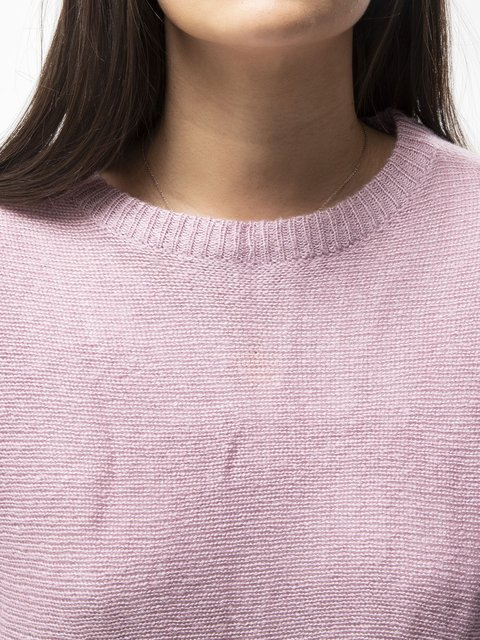 Long Sleeve Plain Crew Neck Knitted Shirts & Tops