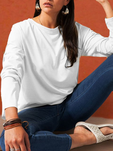 White Casual Plain Shirts & Tops