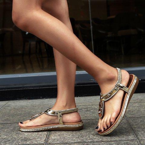 Rhinestone Metal Flip Flop Seaside Sandals