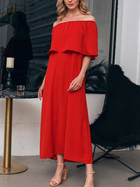Red Sexy Off Shoulder Cold Shoulder Chiffon Dresses