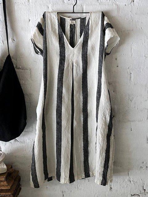Stripe Mini Dress Short Sleeve Printed Dresses