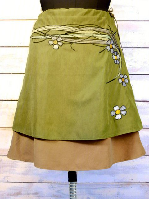 Cotton Embroidered Floral Skirts