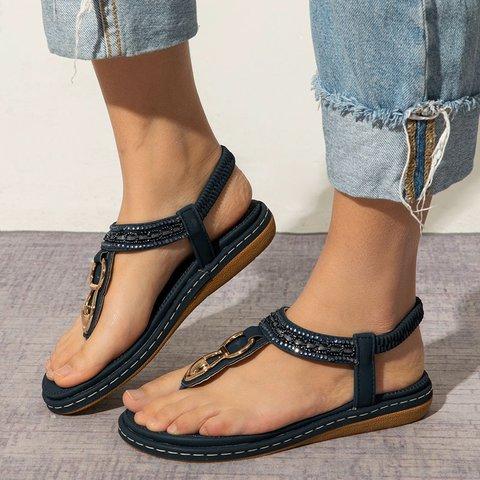 Casual PU Elastic Band Flat Sandals