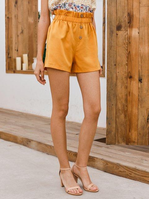 Yellow Boho Solid Cotton Pants
