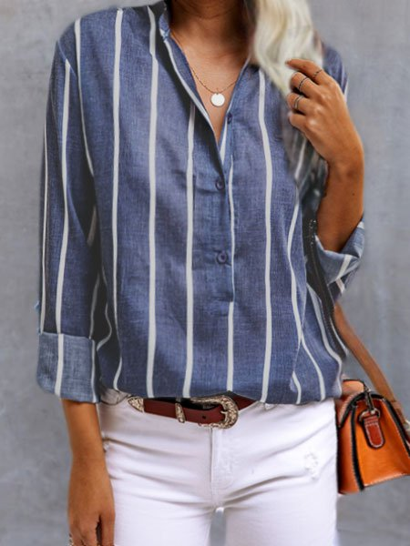 Blue V Neck Cotton-Blend Casual Shirts & Tops