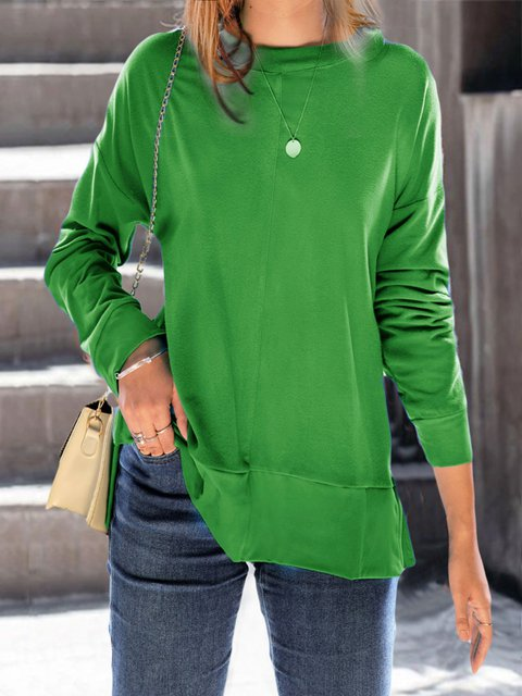 Orange Casual Long Sleeve plus size Sweater