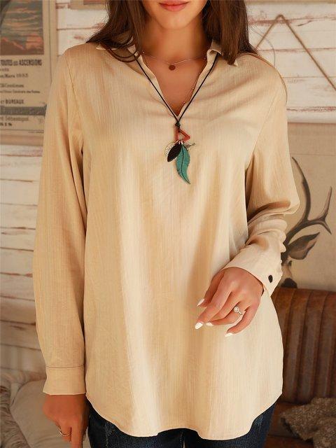 Apricot Shirt Collar Casual Cotton Shirts & Tops