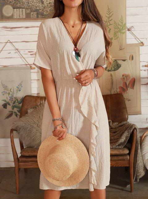 Apricot Cotton Shift Short Sleeve Dresses