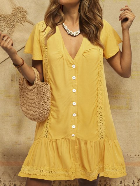Buttoned Laser Cut V Neck Summer Shift Date Cotton-Blend Solid Dresses