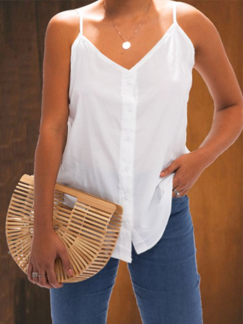 Casual Sleeveless V Neck Plus Size Tops