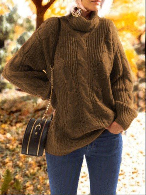 Casual Plus Size Long Sleeve Turtleneck Sweater