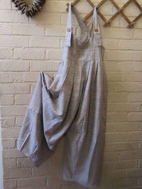 Gray Casual Plain Cotton-Blend One-Pieces