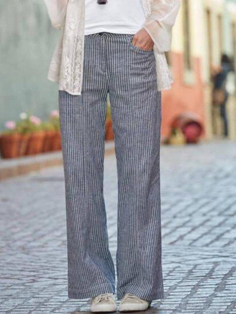Blue Stripes Casual Cotton-Blend Pants