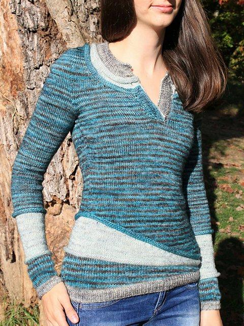 Blue Casual Plain Paneled Sweater