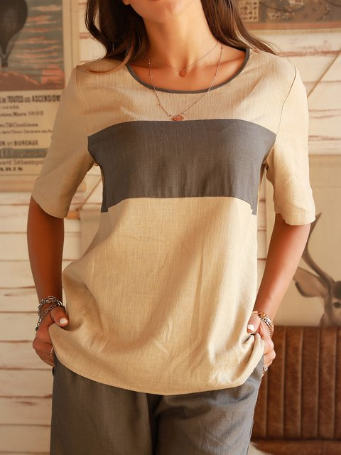 Apricot Shift Holiday Cotton Crew Neck Shirts & Tops