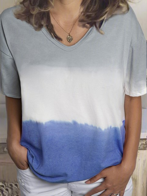 Gray Cotton-Blend Color-Block Short Sleeve Shirts & Tops