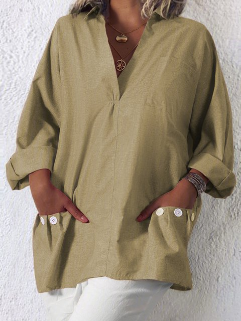 Women Plus Size Pockets Casual Solid V Neck Loose Blouses