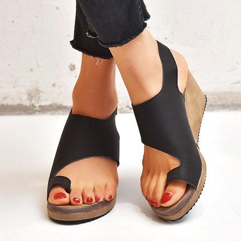 Wedge Heel Flip-flops Adjustable Buckle Wedge Sandals