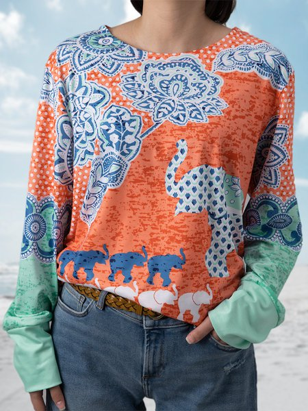 Multicolor Long Sleeve Round Neck Patchwork Shirts & Tops