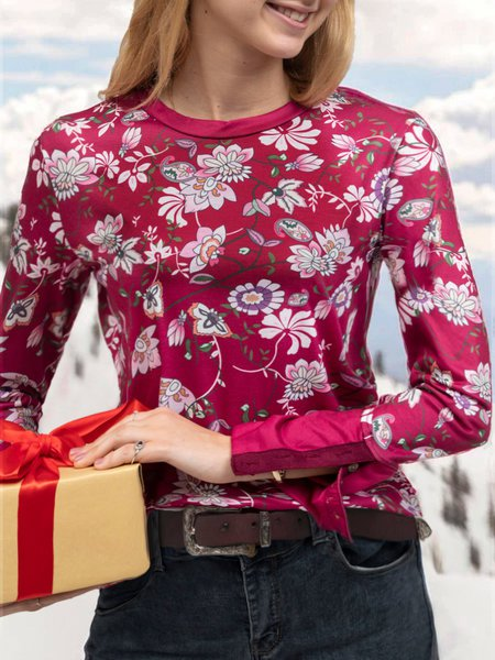 Red Boho Long Sleeve Cotton Printed Shirts & Tops