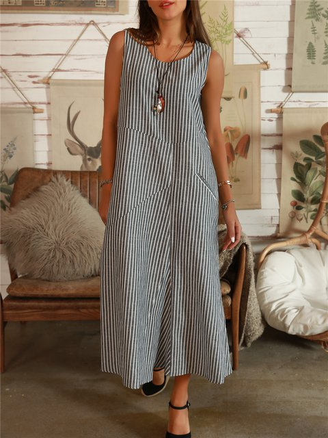 Stripe-Blue A-Line Cotton Sleeveless Dresses