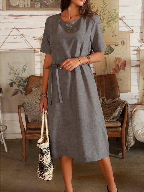 Dark Grey Cotton-Blend A-Line Casual Short Sleeve Dresses