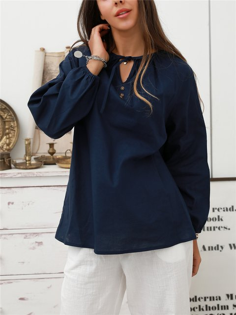 Royal Blue Casual Shift Cotton Shirts & Tops