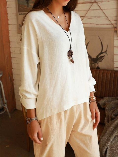 Off White Long Sleeve V Neck Shirts & Tops