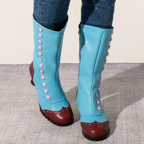 Women Round Toe Button Medievil Spool Heel Casual Zipper Spring Boots