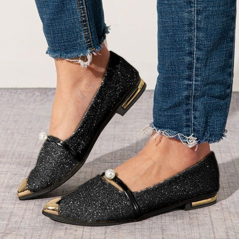 Metal Pointed Toe Suede Slip-On Women Flats