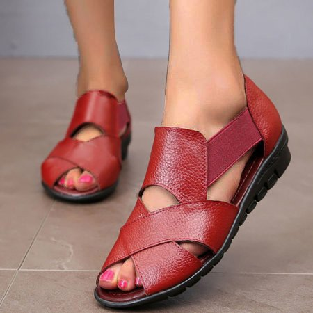 Women PU Sandals Casual Peep Toe Elastic Band Shoes