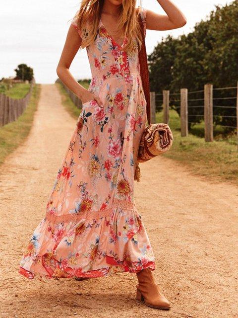 Women Floral Dress V-Neck Holiday Dresses