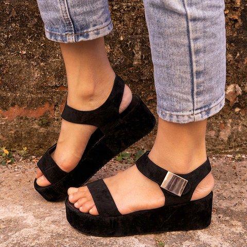 Magic Tape Platform PU Casual Sandals