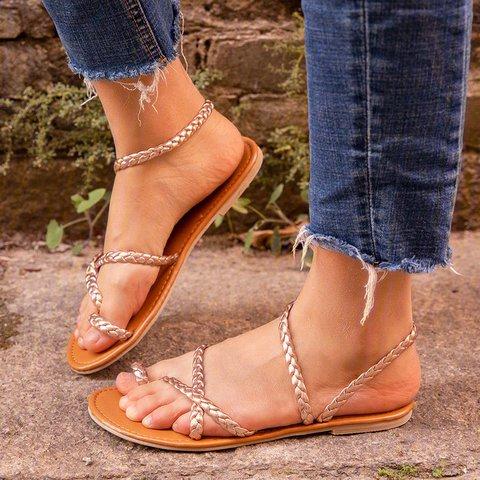 Flat Heel Braided Strap Sandals