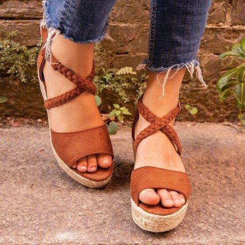 Espadrilles Wedge Sandals Braided Strap Heel Sandals