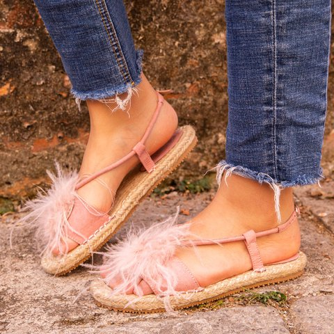 Ostrich Feather Sandals Espadrilles Buckle Sandals