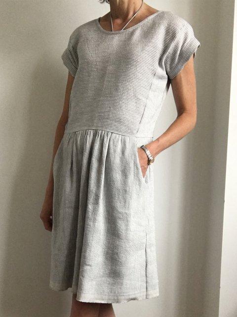 Gray Casual Stripes Dresses