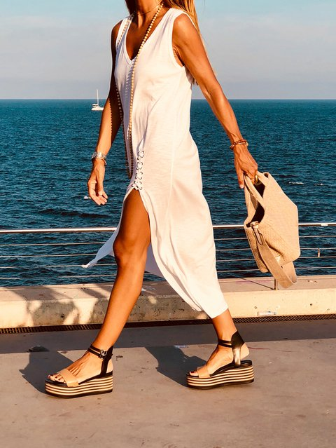White A-Line Knitted Slit Casual Dresses
