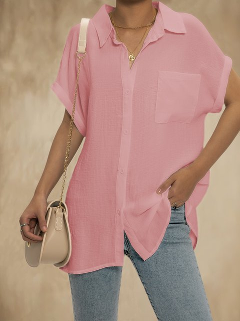 Solid  Short Sleeves Button Down Tops Shirt Blouses